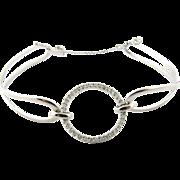 Vintage 14K White Gold Diamond Open Circle Bracelet