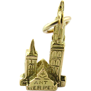 Vintage 18K Yellow Gold Cathedral of Our Lady in Antwerp - De Kathedraal Charm