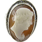 Vintage 18K White Gold Filigree Cameo Ring, Size 8 1/2
