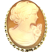 Vintage 14 Karat Yellow Gold Cameo Pin/Pendant