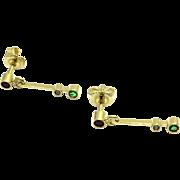 Vintage 14 Karat Yellow Gold Ruby/Emerald/Diamond Earrings