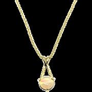 Vintage 14 Karat Yellow Gold Opal Pendant Necklace
