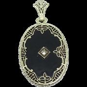 Vintage 14 Karat White Gold/Onyx/Diamond Pendant