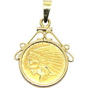 Vintage 14 Karat Yellow Gold 2.5 Indian Head Coin Pendant
