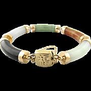 Vintage 14K Yellow Gold Multi-Colored Jade Bracelet
