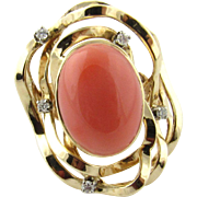 Vintage 14 Karat Yellow Gold Coral and Diamond Ring Size 5