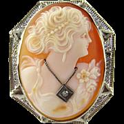 Vintage 14 Karat White Gold Cameo Brooch/Pendant