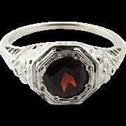 Vintage 14 Karat White Gold Garnet Ring Size 5.25