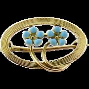 Vintage 10K Yellow Gold Blue Floral Blue Enamel Oval Pin Brooch