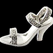 Vintage 14 Karat White Gold and Diamond High Heeled Shoe Charm