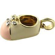 Vintage 14 Karat Yellow Gold and Enamel Baby Shoe Charm