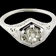 Vintage 18 Karat White Gold Diamond Filigree Engagement Ring Size 7.25