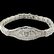 Vintage 14 Karat White Gold Filigree and Diamond Bracelet