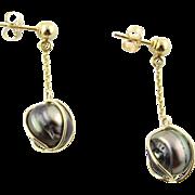 Vintage 14 Karat Yellow Gold Black Pearl Earrings