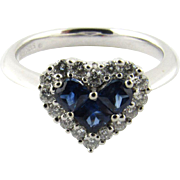 Vintage 14K White Gold Diamond and Sapphire Heart Ring Size 6.75