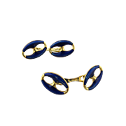 Vintage 18 Karat Yellow Gold Blue Enamel Cufflinks