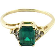 Vintage 14 Karat Yellow Gold Synthetic Emerald Ring Size 8.75