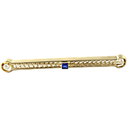 Vintage 14K Yellow Gold Pearl and Sapphire Bar Pin Brooch