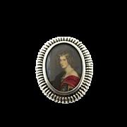 Vintage Sterling Silver Portrait Cameo Brooch/Pendant