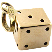 Vintage 14K Yellow Gold 3D Lucky Dice Pendant