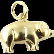 Vintage 14K Yellow Gold Pig Charm