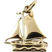 Vintage 14K Yellow Gold Sailboat Charm