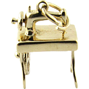 Vintage 14K Yellow Gold Sewing Machine Charm