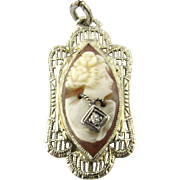 Vintage 10K White Gold Cameo Pendant with Diamond