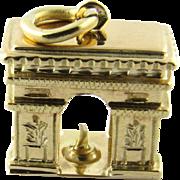 Vintage 14K Yellow Gold Arch de Triumph Charm