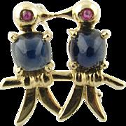 Vintage 14K Yellow Gold Ruby Sapphire 2 Figurine Brooch