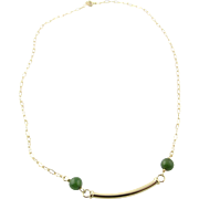 Vintage 14K Yellow Gold and Jade Necklace