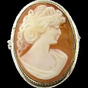 Vintage 800 Silver Cameo Brooch