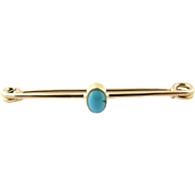 Vintage 14K Yellow Gold Safety Pin with Turquoise stone