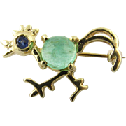 Vintage 14K Yellow Gold Chicken Brooch with Cabachon Emerald and Sapphire