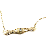 Vintage 14K Yellow Gold Necklace with Round Brilliant Diamond