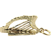 Vintage 14K Yellow Gold 3D Harp Charm