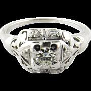 Vintage 18 Karat White Gold Diamond Engagement Ring Size 5