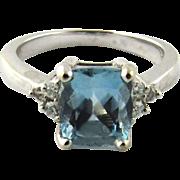 Vintage 14 Karat White Gold Blue Topaz and Diamond Ring Size 5.5