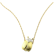 Vintage 18 Karat Yellow Gold and Diamond Beetle Necklace