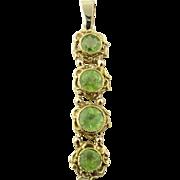 Antique 10 Karat Yellow Gold Peridot Pendant
