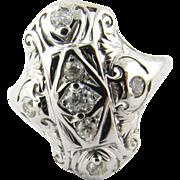 Vintage 14 Karat White Gold and Diamond Ring Size 8