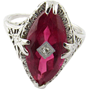Vintage 14 Karat White Gold Synthetic Ruby Ring Size 7.25