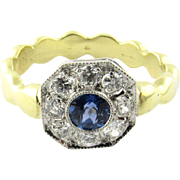 Vintage 18 Karat Yellow Gold Sapphire and Diamond Ring Size 6.25