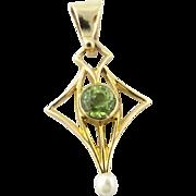 Vintage 14 Karat Yellow Gold Peridot and Pearl Pendant