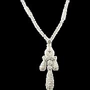 Vintage 18 Karat White Gold Diamond Drop Pendant