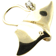 Vintage 14 Karat Yellow Gold Stingray Pendant