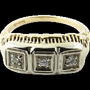 Vintage 14 Karat Yellow and White Gold Diamond Ring Size 6.5