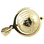 Vintage 14 Karat Yellow Gold Spinning Globe Charm