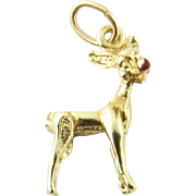 Vintage 14 Karat Yellow Gold Rudolph the Red-Nosed Reindeer Charm