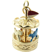 Vintage 14 Karat Yellow Gold Enamel Mechanical Carousel Charm